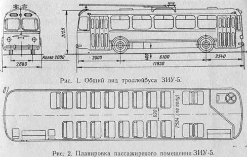 Чертеж троллейбуса ЗиУ-5