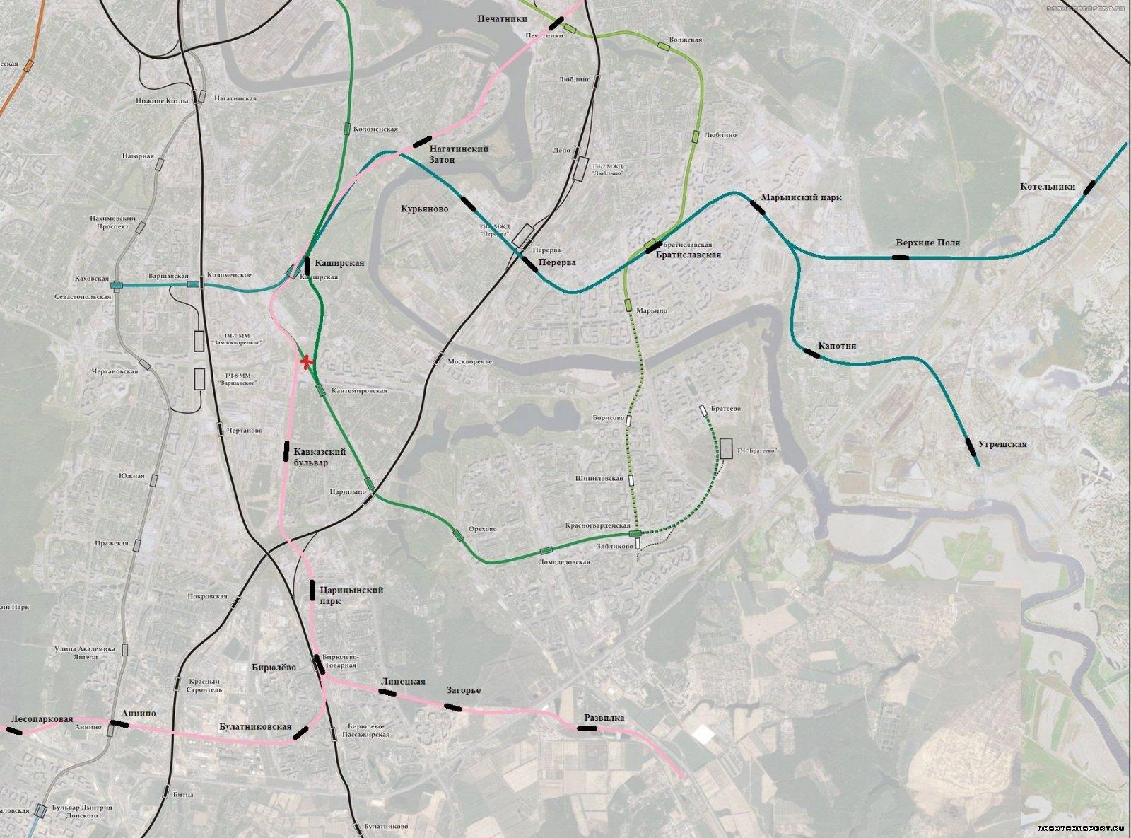 Хорды от Каширской со станциями
